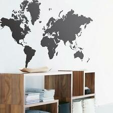 Large Map Of The World Vinyl Wall sticker decal quotes Black