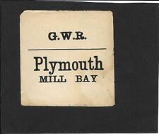 PLYMOUTH (MILL BAY) - RAILWAY LUGGAGE LABEL (SQUARE)  - GREAT WESTERN RAILWAY
