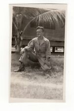 Vintage Photo Handsome Young Man Soldier Kneeling 1940's Mar18