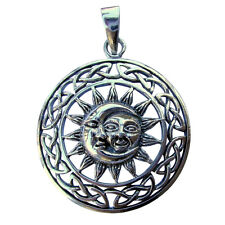 Sterling  Silver  (925)  Sun In  Moon  Pendant   ( 6.5  Grams )  !!    New  !!