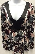 TALL GIRL Kimono Tie Belt Floral V Neck Black White Pink Blouse Size 10