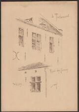 Tienen Rue des Carmes Armand HEINS Ancienne planche avec croquis de facade