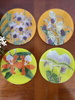 Set of 4 New York Botanical Garden Floral Art Glass Round Plates by Barrefeld