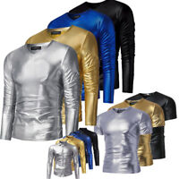 Mens Long Sleeve V-Neck Shirt Casual Slim Fit Pu Leather Tee Muscle T-shirts