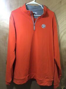 Mens Peter Millar Orange Pullover Sweat Shirt Golf Jacket Size  1/4 Zip XL