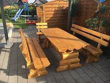 4tlg  Massivholz Gartengarnitur Gartenmöbel Tisch + 3 Bänke