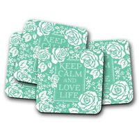 4 Set - Keep Calm Love Life Coaster - Positive Thinking Floral Green Gift #19120