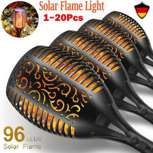 96LED Solarleuchte Garten Beleuchtung Solar Licht Lampe Fackel Leuchte Flamme DE