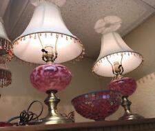 Fenton Fern Daisy Cranberry Pair Of Lamps