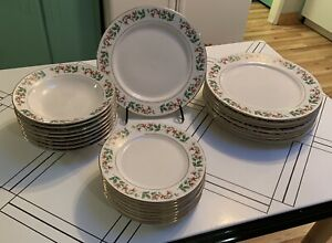 Gibson Everyday China Holly Berry 24 Piece Dinner Ware Set