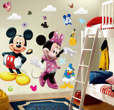 3D Mickey and Minnie Mouse Wall Stickers Cartoon Kids Baby Nursery Bedroom Decor