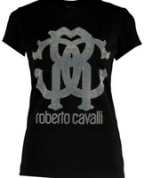 NWT Roberto Cavalli Crystal Logo Tee Shirt L