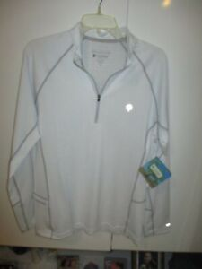 NWT COOLIBAR WHITE WITH GRAY TRIM LS QTR ZIP FITNESS SHIRT UPF/50+ SIZE M