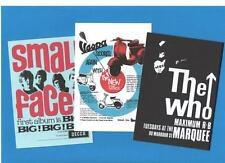 3 POSTERS. SMALL FACES, The WHO, VESPA, Scooter, Mod, pop art, 60's.