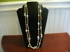 "Natural Wood Seed Bead Clear Glass White Plastic Bead 59"" Slipover Necklace"