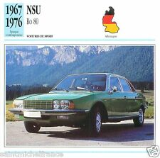 NSU Ro 80 1967 1976 CAR VOITURE GERMANY ALLEMAGNE CARTE CARD FICHE