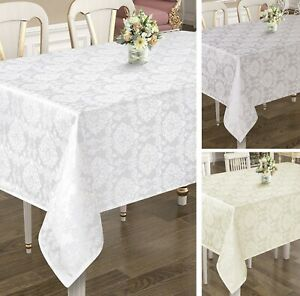 Rectangular Extra Large Grey, White, Cream Poly-Cotton Tablecloths, 4 Sizes