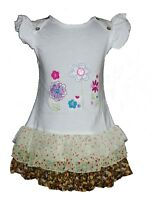 Baby Girls Floral Cotton Party Dress Pink White 6 9 12 18 24 Months