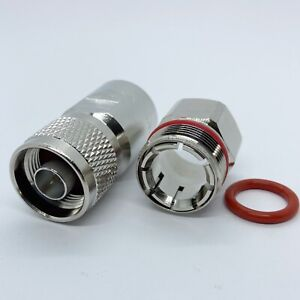 """Connector N male 1/2"""" for Corrugated copper Standard Andrew Heliax silver; US"""