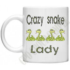 Crazy Snake Lady Reptiles Pets  Novelty Mum Mom Gifts For Her Tea Coffee Mug