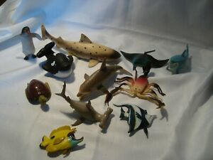 JOB LOT OF MARINE LIFE TOY  ANIMALS SHARKS  ETC 11 IN TOTAL