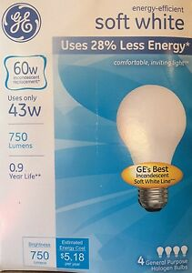 4 GE 43-Watt/60-Watt Output Soft White A19 Medium Base Light Bulbs - 750 Lumens