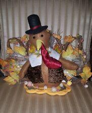 Turkey on Wooden Base Fall Thanksgiving Autumn Decoration