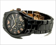 LUXURY ITALIAN EMPORIO ARMANI AR1410 CERAMIC BLACK CHRONOGRAPH MENS WATCH GIFT
