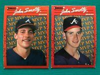 (2) 1990 Donruss JOHN SMOLTZ TOM GLAVINE Braves Baseball Error & Corrected Cards