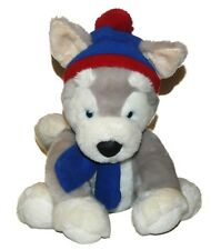 Bestever Husky Dog Blue Red Hat & Scarf Plush Lovey 12 inch Stuffed Animal Toy