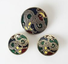 set enamel and gold tone dragon Solo'Or Miracle Celtic Earring Brooch Pendent