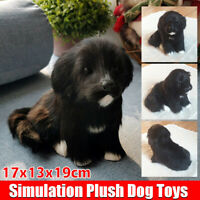 Realistic Black Dog Puppy Pet Plush, Simulation Stuffed Animal Cuddly Doll Toy