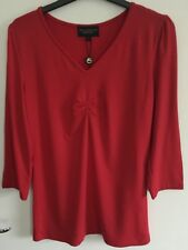 Paul Costelloe Long Sleeved Red Jersey T Shirt Top In Size 2 10-12 BNWT Rrp £49