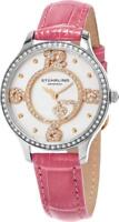 Stuhrling 760.03 760 03 Chic Crystals Heart Pink Leather Strap Womens Watch