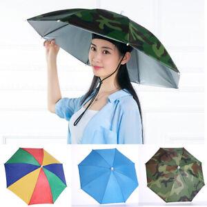 wD Headwear MultiColor Umbrella Hat Cap Beach Sun Rain Fishing Camping Hunting