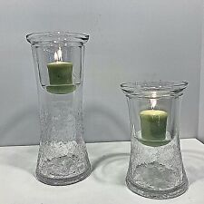 Yankee Candle Crackled Glass Cylinders (2) With Votive Insert