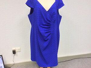 Jacques Vert Royal Blue & Black Dress - Cap Sleeves - Occasion - Size 24