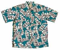 Cooke Street Men's Honolulu Classic Hawaiian Shirt Turquoise/Palm Leaf Print
