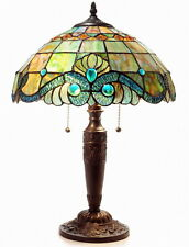 "Tiffany Style Handcrafted Pearl Vintage Table Lamp 16"" Shade"