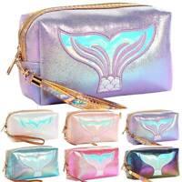 Womens Glitter Cosmetic Makeup Handbag Vanity Case Fish Tail Organizer Bag Pouch
