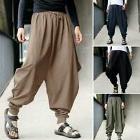 Fashion Men Retro Casual Harem Loose Trousers Cotton Linen Japanese Pants Hakama