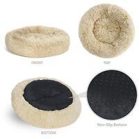Pet Bed for Medium Small Size Donut Faux Fur Cat Dog Calming Cuddler 100% Safe