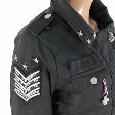 ROCAWEAR Winter Coat Jacket Women's SIZE MEDIUM Black Studs Emblems SICK!!!
