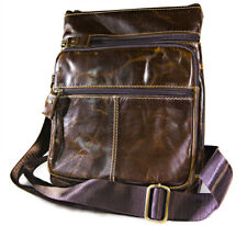 Handmade vintage retro brown genuine leather sling bag, leather messenger bags