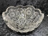 "Clear Pressed Glass Daisy Button Fruit Bowl Sawtooth Edge 8.75""W x 4.5""H Vintage"