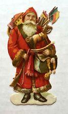 Vintage Die Cut Scrap of Old Style European Red Coat Santa w/ a Gun and Toys