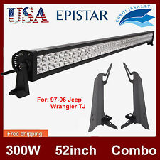 "97-06 Jeep Wrangler TJ+52"" 300W LED Light Bar Windshield Upper Mount Bracket NEW"