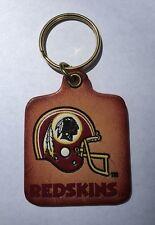 Vintage NFL Football Washington Redskins Logo Leather Keychain - NOS