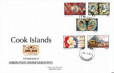 Isole Cook 2013 FDC REGINA ELISABETTA II INCORONAZIONE commemoratives 6V Set Copertura