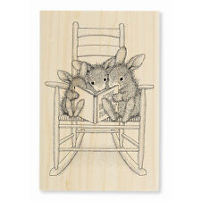 HOUSE MOUSE RUBBER STAMPS HAPPY HOPPERS READING RABBITS NEW WOOD STAMP